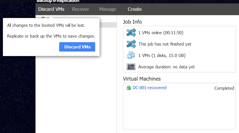 Discard Booted VM