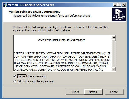 Vembu BDR 3.7.0 Installation - License Agreement