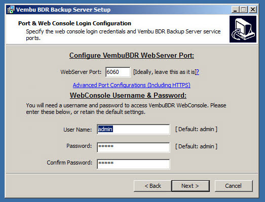 Vembu BDR 3.7.0 Installation - Defaults