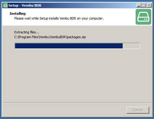 Vembu BDR 3.7.0 Installation - Progress