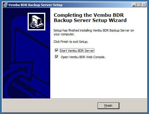 Vembu BDR 3.7.0 Installation - Finish