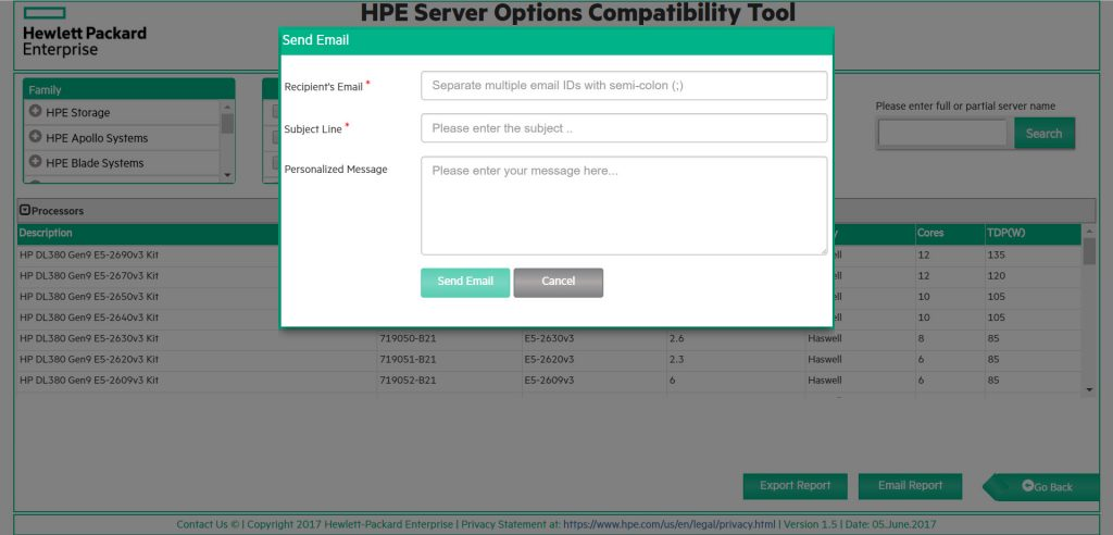 HPE Server Options Compatibility Tool - Email