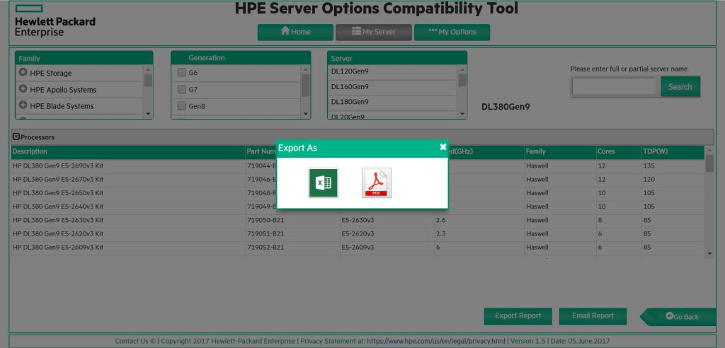 HPE Server Options Compatibility Tool - Export
