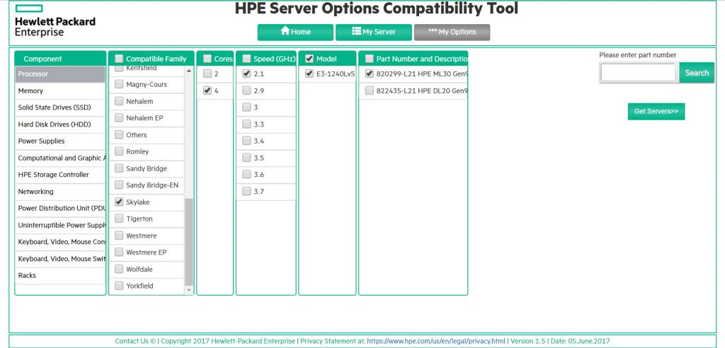 HPE Server Options Compatibility Tool - My Options - Example