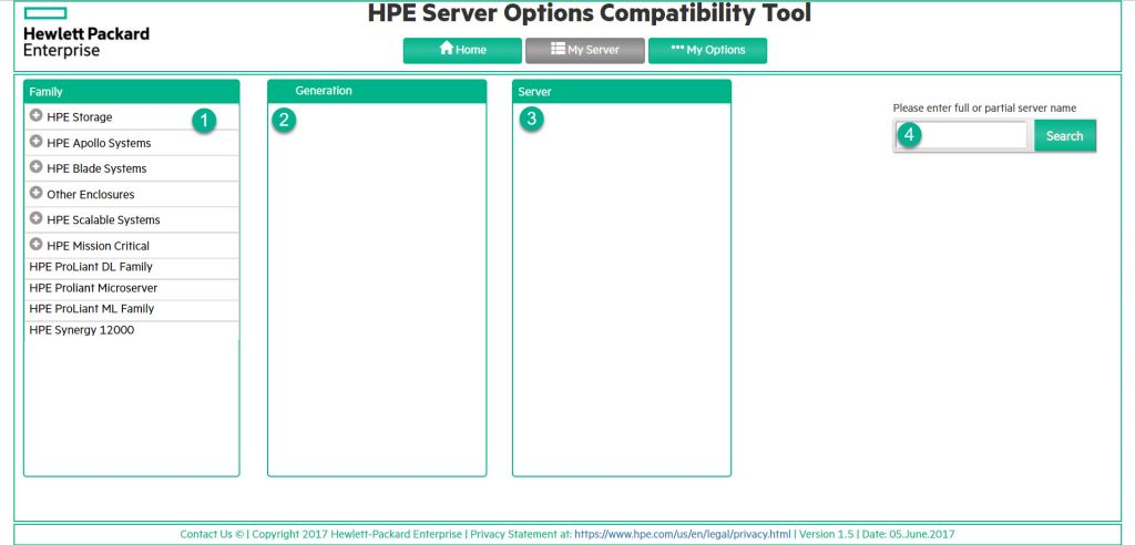 HPE Server Options Compatibility Tool - My Server