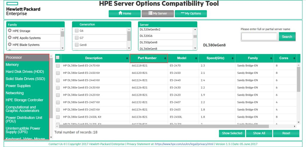 HPE Server Options Compatibility Tool - My Server - Example