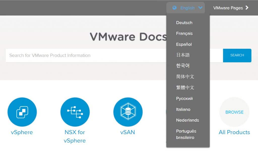 VMware Docs - Languages