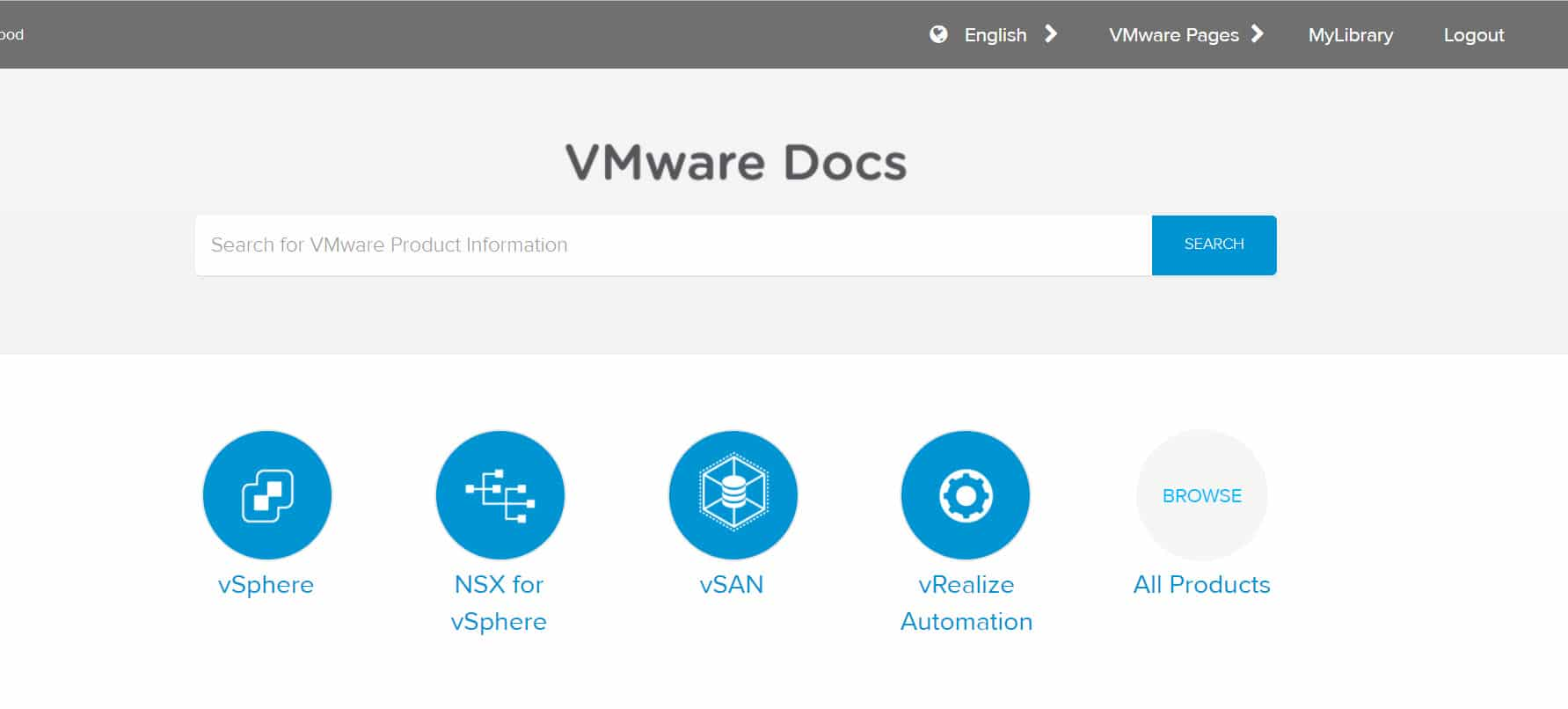 VMware Docs - Main Window