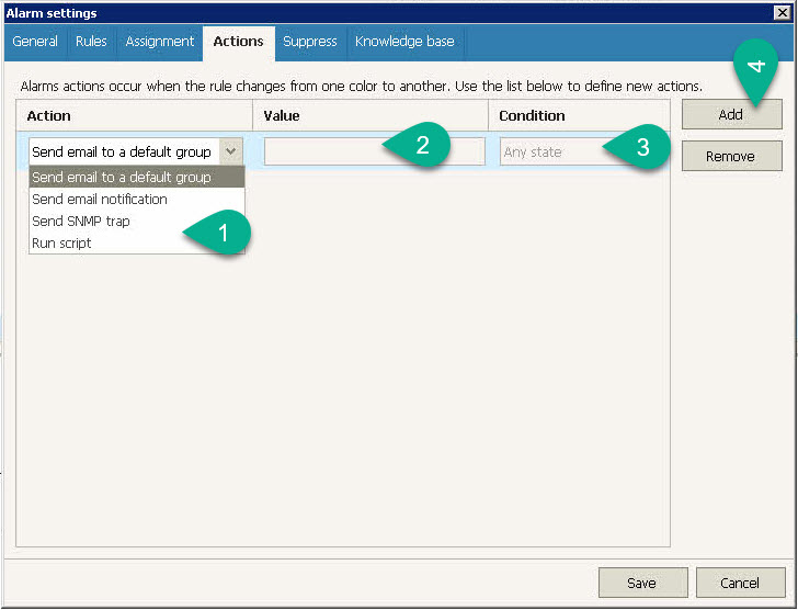 Veeam ONE Alarm - Actions