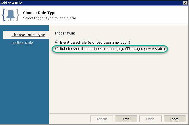 Veeam ONE Alarm - Rule Type