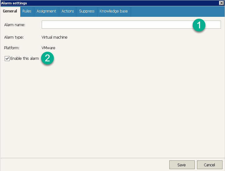 Veeam ONE Alarm Settings