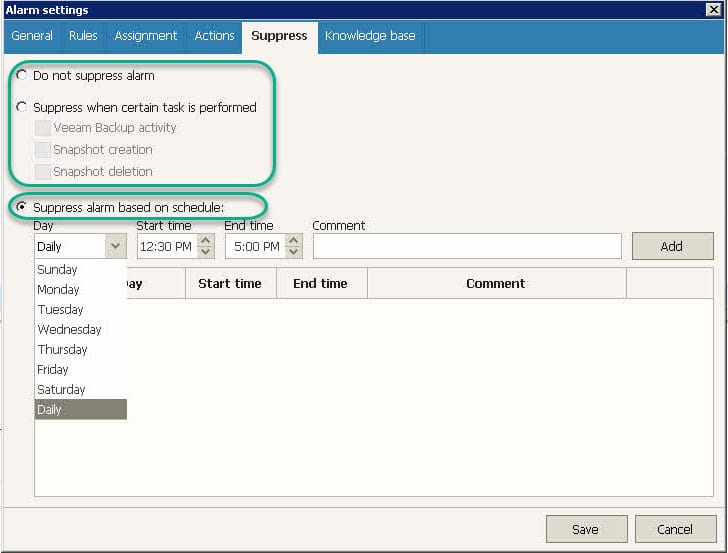 Veeam ONE Alarm - Suppress