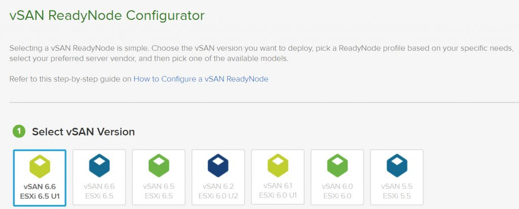vSAN ReadyNode Configurator - vSAN Version