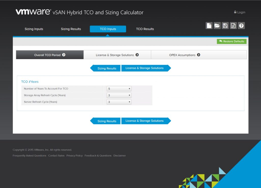 vSAN Hybrid TCO and Sizing Calculator - Overall TCO Period