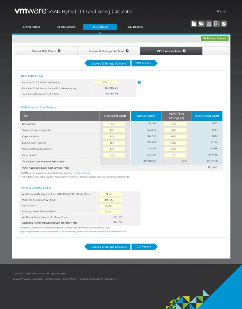 vSAN Hybrid TCO and Sizing Calculator - OPEX Assumptions