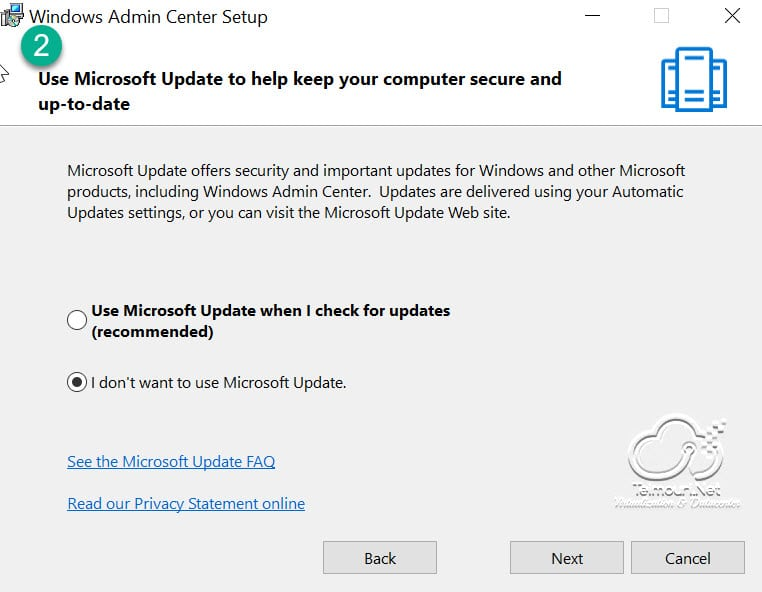 Windows Admin Center - Installation Step 2