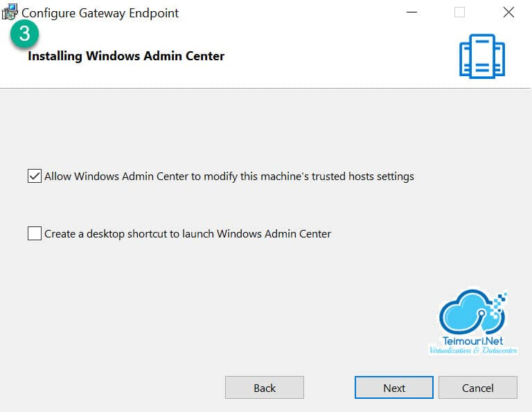 Windows Admin Center - Installation Step 3